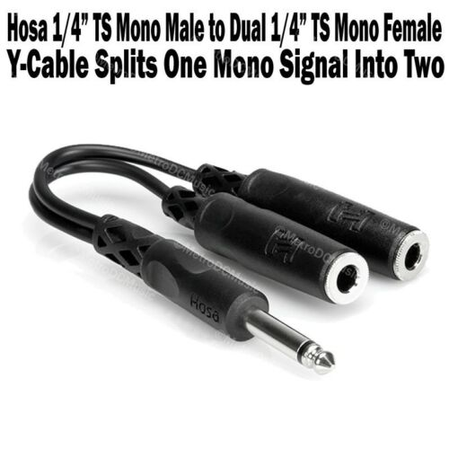 """4-Pack Hosa 1//4/"""" TS Mono Male to Dual 1//4/"""" TS Female Y Cable Adapter Splitter"""
