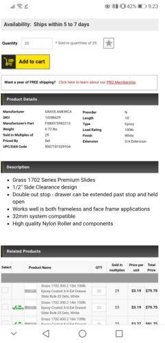 50 Slides 10in Grass 100lb Epoxy Coated 3//4 Ext Drawer slide Lot of 25 Sets