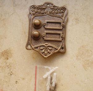 K15A Messing Antik Antikladl Klingel 2 Jugendstil Door Bell Tür Türklingel K8A