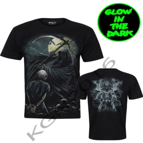 New Gothic Grim Reaper Skull Death Scythe Moon Glow In Dark Print Front N Back