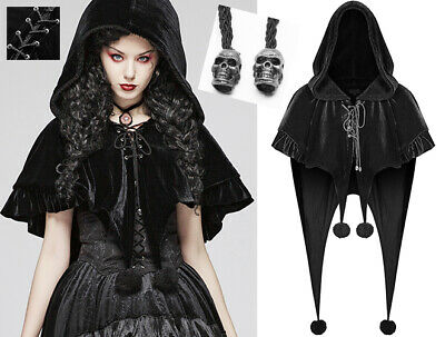 Rigoroso Cape Veste Velours Capuche Gothique Lolita Baroque Volant Pompon Elfe Punkrave N
