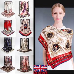 Elegant-Woman-Bandana-Square-Head-Neck-Scarf-Wrap-Satin-Silk-Vintage-Shawl-NEW