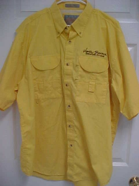 VISION SOURCE Eye Care 25th Button Front  Yellow Men Vent Hunt Fishing Shirt XL  buy cheap