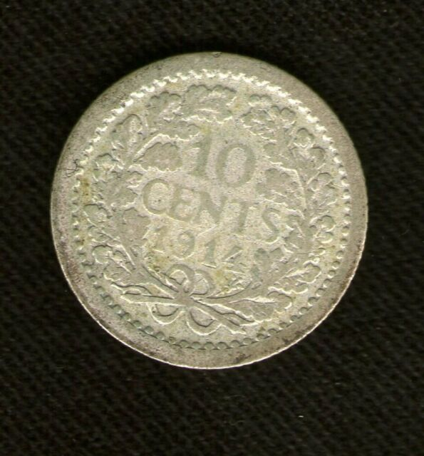 NETHERLANDS COIN 10 CENTS 1914 SILVER