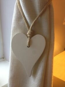 Pair-Of-Handmade-Wooden-Offset-Heart-Curtain-Tie-Backs-Antique-White-Chic-Finish