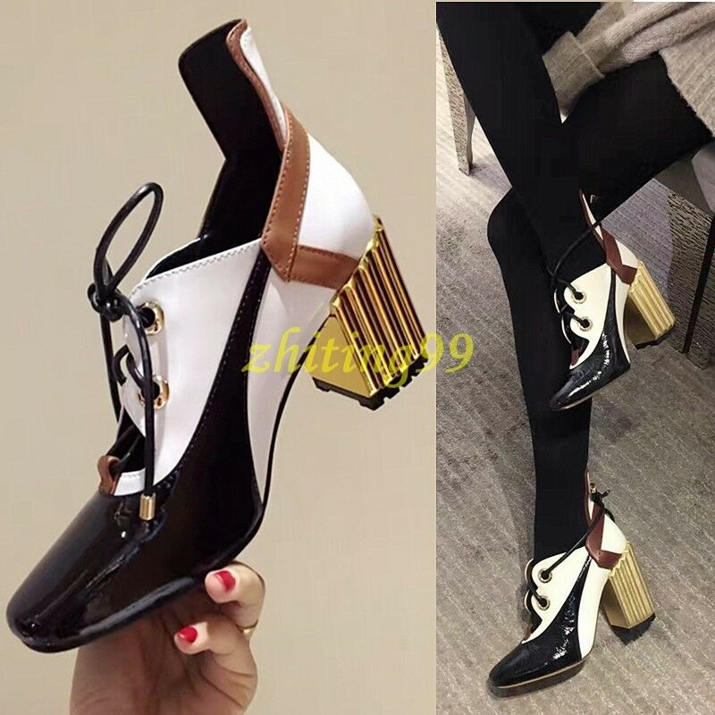 New Donna Retro Mid Block Lace Up Pieced Square Toe Hot Pumps Hollow Out Shoes