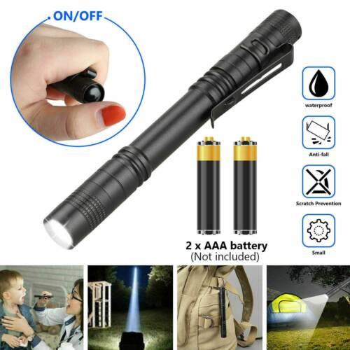 3pcs LED Flashlight Reusable LED Torch Mini Penlight Lamp Pen Clip Torch