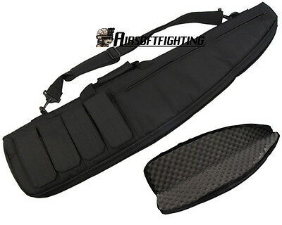 """1m/38"""" 2Ways Airsoft Hunting Padded Carry Case AEG Rifle Shoulder Hand Bag Black"""