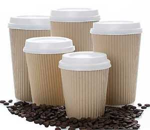 Details about INSULATED RIPPLE HOT DRINKS PAPER CUPS 25, 50, 100 or 500 COFFEE DISPOSABLE LIDS
