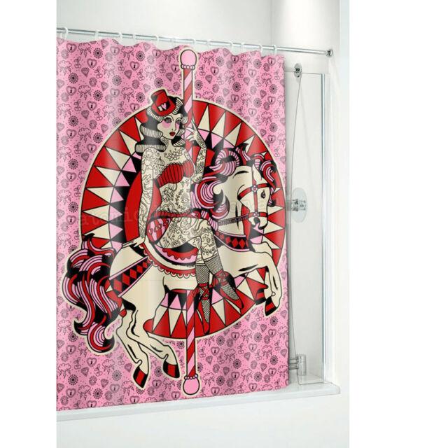 Sourpuss Carousel Tattoo Pin Up Shower Curtain Rockabilly Retro Punk Kitsch