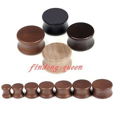 "Pair 0g-3/4"" Solid Saddle Sono Wood Organic Flared Ear Tunnel Plug Expander Punk"