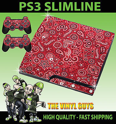 Analytical Playstation 3 Slim Ps3 Slim Red Paisley Pattern Sticker Skin & 2 Pad Skins