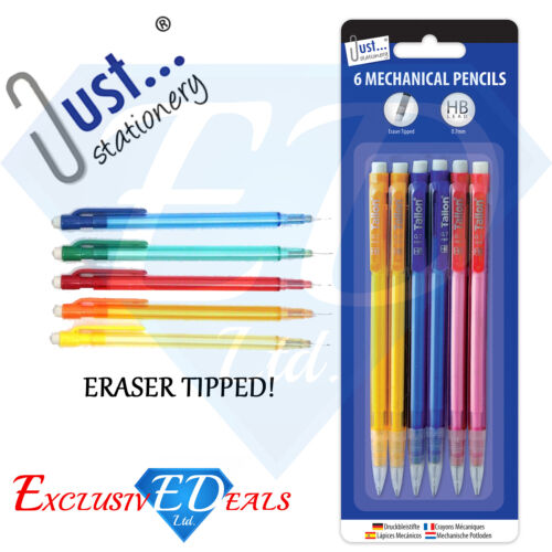 Pack of 6 Mechanical Pencils With Eraser Tipped HB Lead HB 0.7mm Lead