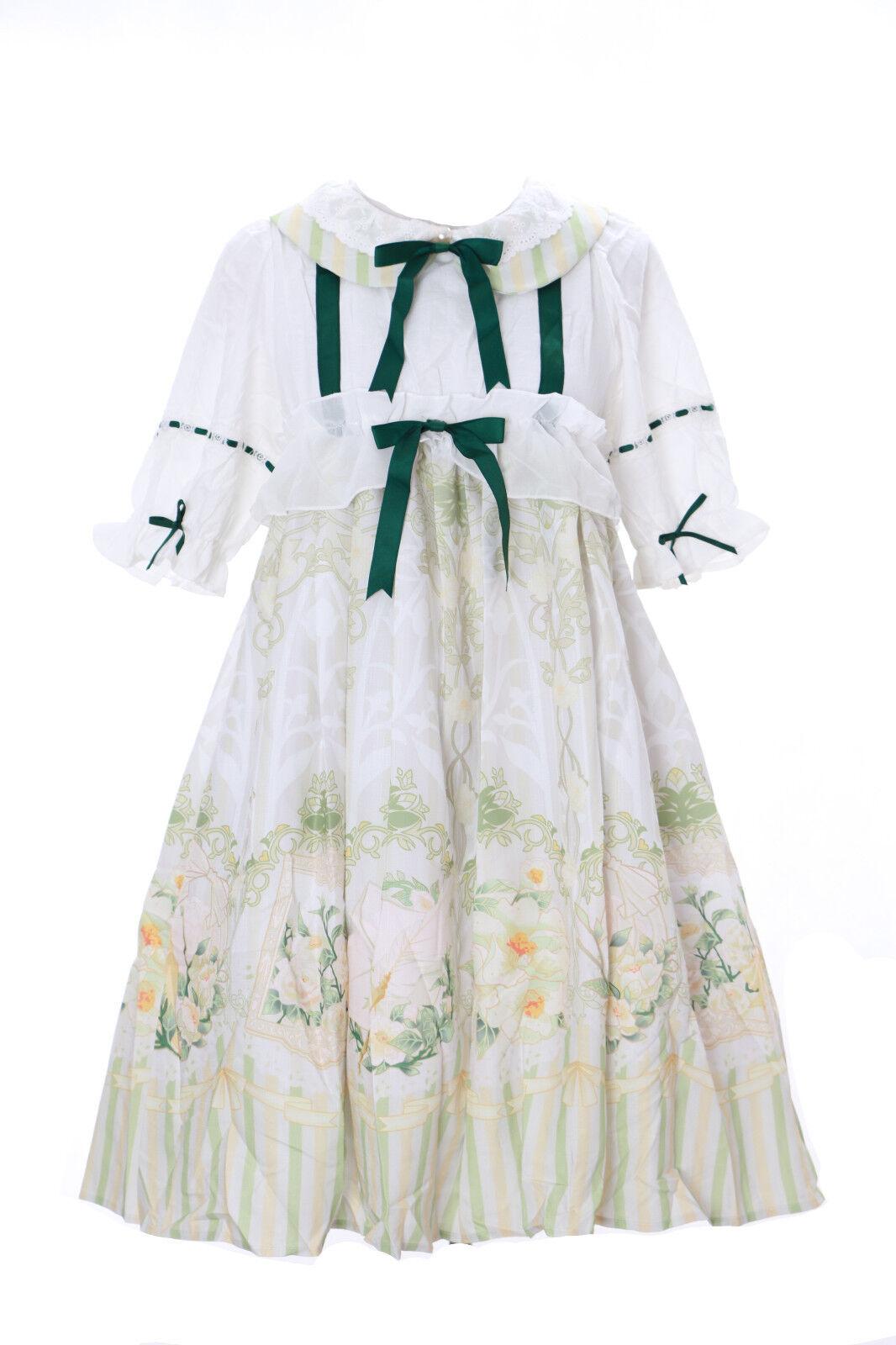 JSK-12 Oiseau Vert Blanc Vintage  -Doll Mignon Pastel Gothique Lolita Cosplay
