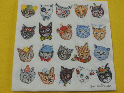 5 Servietten KATZEN Serviettentechnik Motivservietten Lustig viele Comik cats