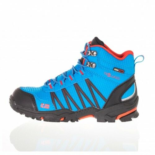 Trollkids Trolltunga Hiker Mid medium Blau rot Kinderschuh Wanderschuh blau