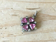 Antique Victorian Silver and Pink Paste Pendant Floral Cross Unusual
