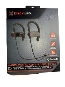 New Blackweb Wireless Sport Bluetooth Earphones Ipx4 Water Resistant Black 681131279482 Ebay