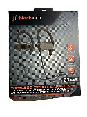 New Blackweb Wireless Sport Bluetooth Earphones Ipx4 Water Resistant Black 681131279482 Ebay