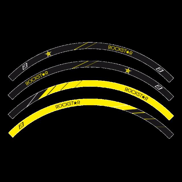 adesivi moto grafiche per cerchi Crystal Blackbird Rockstar cross enduro giallo