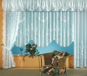 Gardine-Serie-Blumen-Store-Seitenschal-Querbehang-Vorhang-weiss-chic-gebogt-Typ1