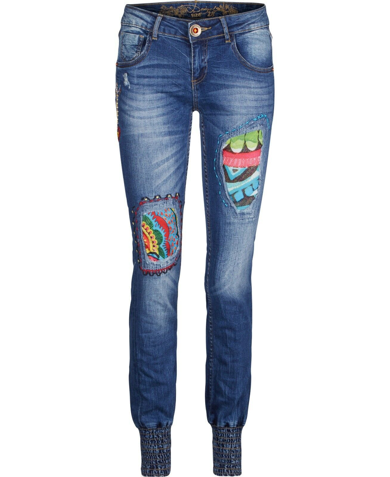 DESIGUAL AFRICA ARROW REP JEANS- SIZE USA (6)- blueE JEANS- BRAND NEW