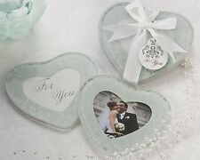 50 Heartfelt Memories Frosted Glass Bridal Wedding Heart Photo Coaster Favors