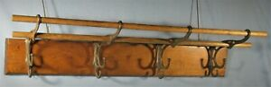 ANTIQUE-WOOD-WALL-HUNG-HAT-COAT-CAP-RACK-w-4-2-STEP-HOOKS-2-RODS-CA-1900-24-034-L