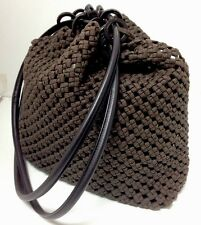 Gucci Purse Brown Woven Cord Round Leather Straps Suede Lining