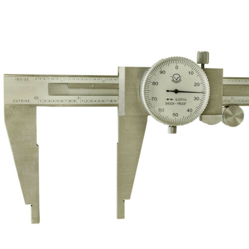 12 Inch Stainless Steel Dial Caliper NO Upper Jaw 0.001 Inch Graduation