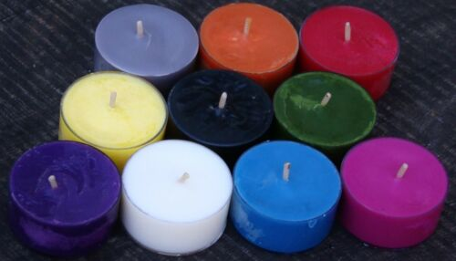 10pk 120hr//pack CITRONELLA /& ORCHIDS Scented SOY TEA LIGHT CANDLES Insect Repell