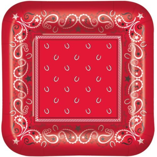 Western Red Bandana 7 Inch Square Paper Plates