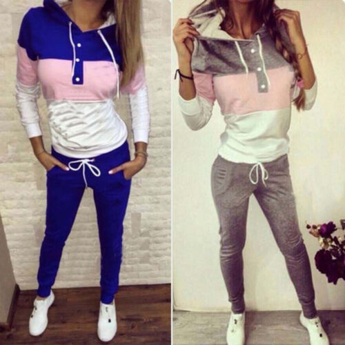 Womens Winter 2 PCS Hoodies Tops Tracksuits Set Joggers Active Loungewear Sports