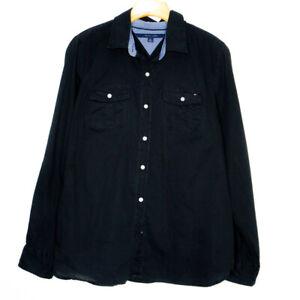 Tommy Hilfiger Womens Button Up Black Shirt Size Medium