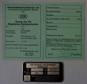ABE Kr 51/2  Schwalbe Betriebserlaubnis SIMSON  & KEIN Typenschild =  DDr Stil