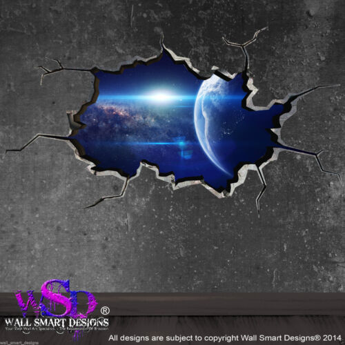 WALL ART STICKER BOYS DECAL WSDFC81 SPACE PLANETS UNIVERSE WORLD CRACKED 3D
