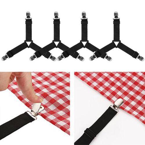 4x Triangle Bed Sheet Mattress Holder Fastener Grippers Clips Suspender Straps E