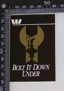 VINTAGE-WESTPAC-BANK-AMERICA-039-S-CUP-BOLT-IT-DOWN-UNDER-ADVERTISING-PROMO-STICKER