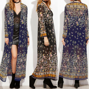 Details about UK Stock Women Summer Floral Cardigan Long Sleeve Long Tops  Shirt Kimono Outwear