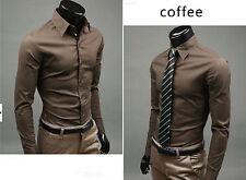 1PC Coffee Men Casual Turn Down Collar Long-Sleeve Dress shirts Slim Fit Size XL