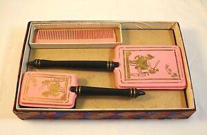 Vintage Dresser Set Pink W Gold Horse Carriage Mirror Brush Comb Original Box