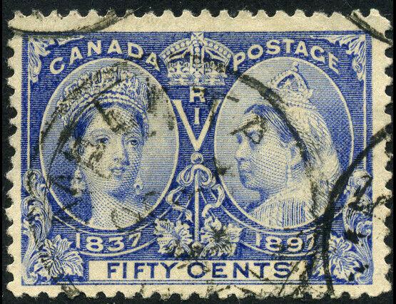 Canada #60 used F-VF 1897 Queen Victoria 50c ultramarine Diamond Jubilee CDS