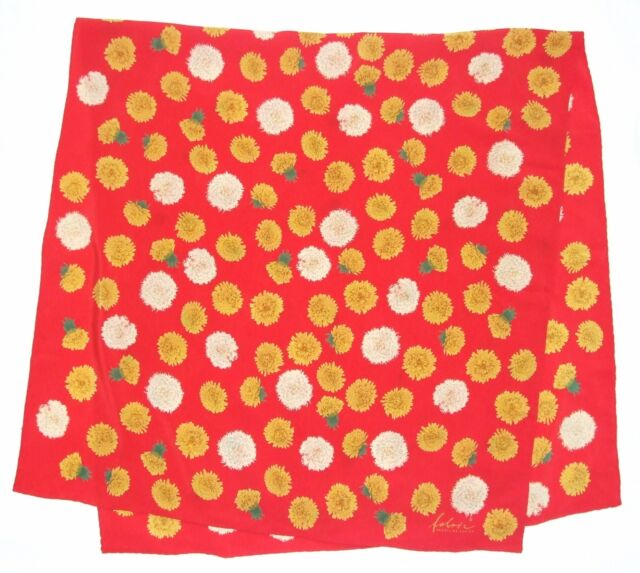 """Luxury FABRIC FRONTLINE Floral DANDELION Red Yellow White Silk 52"""" Scarf Wrap"""