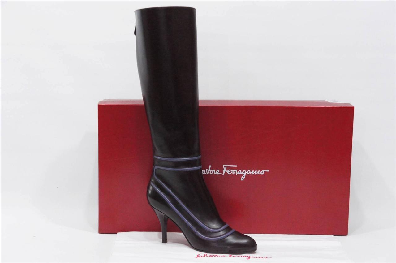 Salvatore Ferragamo lori prune púrpura botas de cuero zapatos 8.5  900