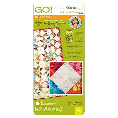 "AccuQuilt GO Fabric Cutter Cutting Die Quarter Square-4"" Finished Triangle 55047"
