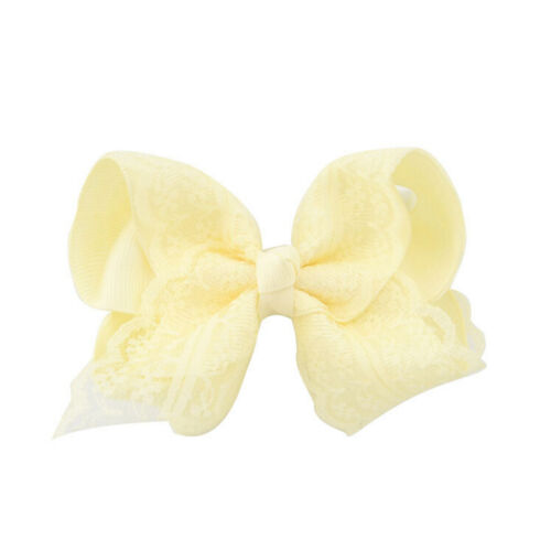 Girls Baby Grosgrain Hair Bow Alligator Lace  Hair Clip Hair Accessories P*YN