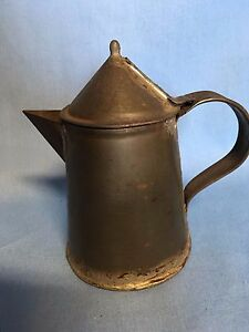 "Antique Tin Lidded Syrup Pitcher or Small Coffee Pot 4 3/4"" Unique Hand Made"