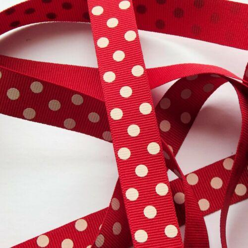 15mm width Red /& Ivory Spotty Grosgrain Ribbon R13461 Berisfords Ribbon