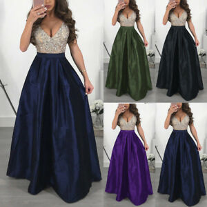 Plus-Size-Womens-Formal-Prom-Gown-Sequin-Dress-Party-Cocktail-Long-Maxi-Dresses