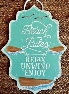 21b165d8d BEACH RULES SIGN Wall Art Hanger Plaque Ocean Home Sea Gulls Sand ...